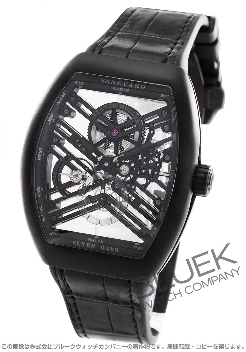 フランクミュラー ヴァンガード 7デイズ パワーリザーブ スケルトン クロコレザー 腕時計 メンズ FRANCK MULLER V45 S6 SQT TT NR BR NR