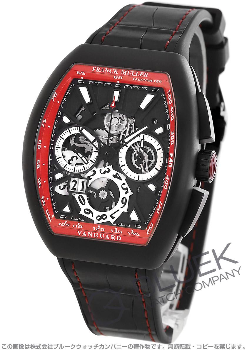フランクミュラー ヴァンガード グランデイト クロノグラフ クロコレザー 腕時計 メンズ FRANCK MULLER V45 CC GD SQT TT NR BR NR[FMV45CCGDTINRRDBKLZBKCR]