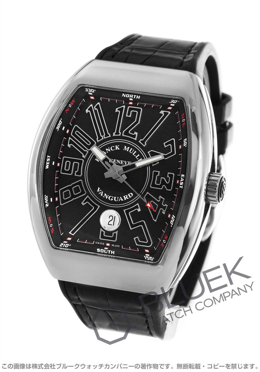 フランクミュラー ヴァンガード クロコレザー 腕時計 メンズ FRANCK MULLER V 41 SC DT AC NR[FMV41SCPLSSBKLZBK]
