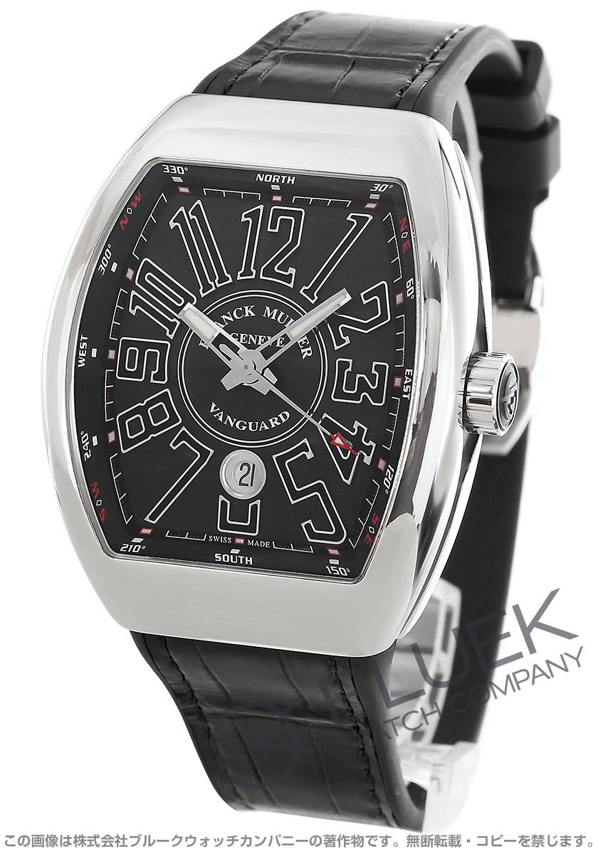 フランクミュラー ヴァンガード クロコレザー 腕時計 メンズ FRANCK MULLER V45 SC DT AC NR[FMV45SCPLSSBKLZBK]