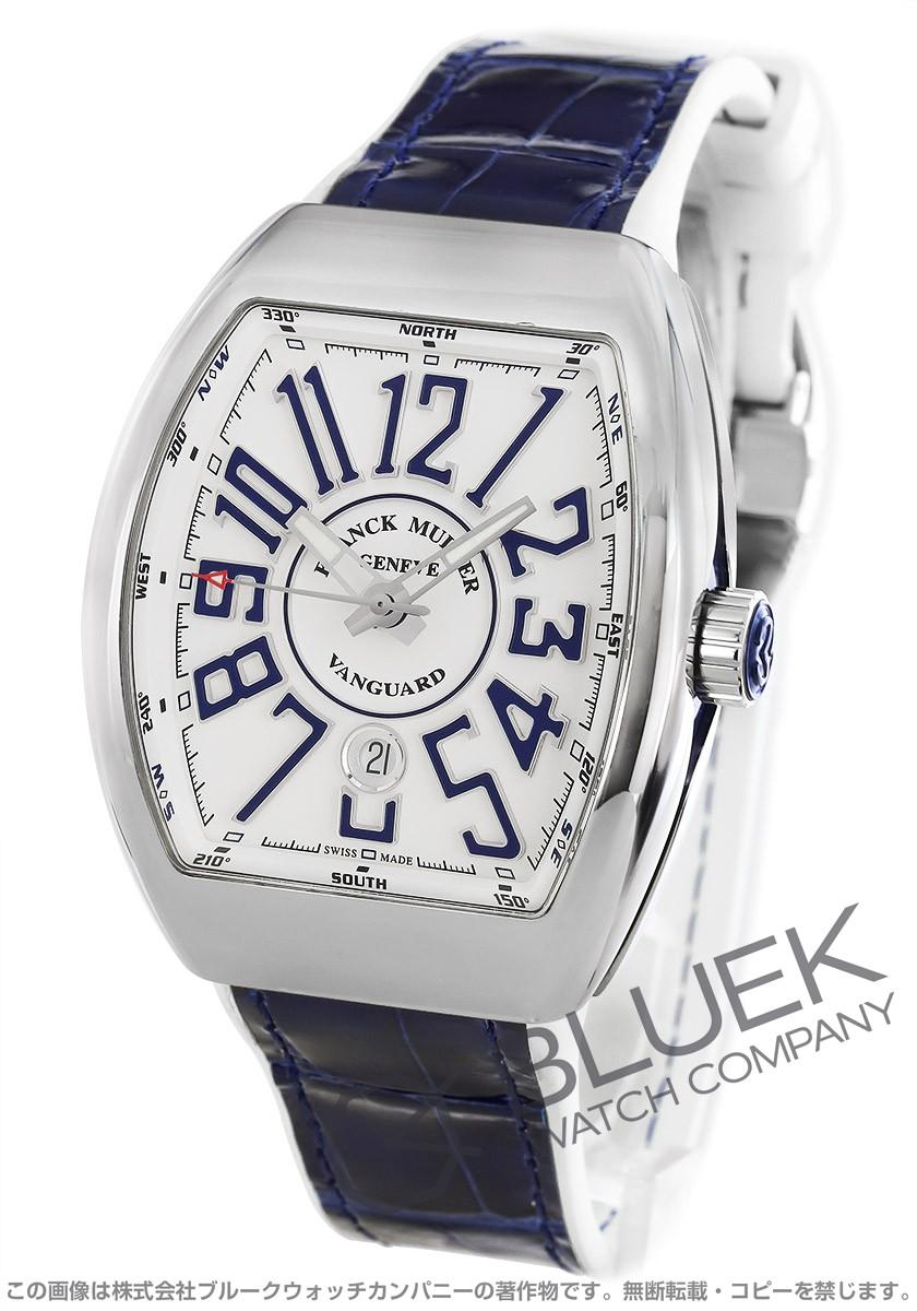 フランクミュラー ヴァンガード クロコレザー 腕時計 メンズ FRANCK MULLER V 45 SC DT AC BU[FMV45SCPLSSWHENBLWH]