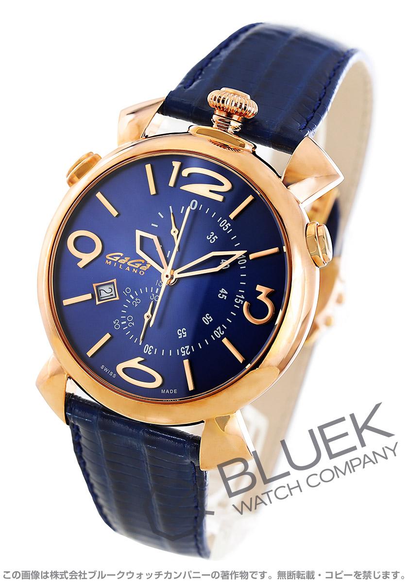 【最大3万円割引クーポン 11/01~】ガガミラノ シン クロノ46MM クロノグラフ リザードレザー 腕時計 メンズ GaGa MILANO 5098.04