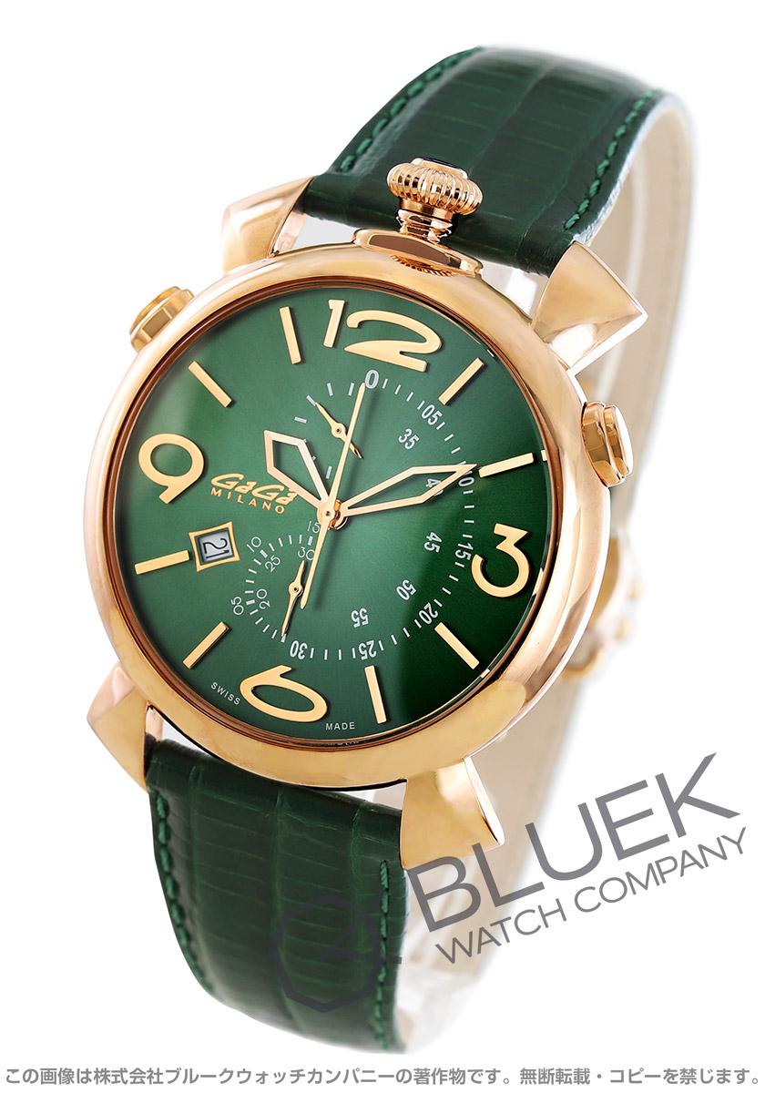 【最大3万円割引クーポン 11/01~】ガガミラノ シン クロノ46MM クロノグラフ リザードレザー 腕時計 メンズ GaGa MILANO 5098.05