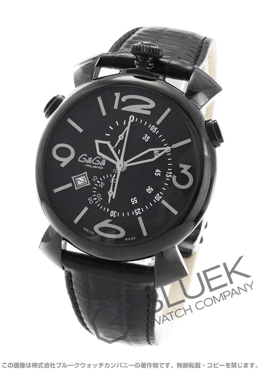 【最大3万円割引クーポン 11/01~】ガガミラノ シン クロノ46MM クロノグラフ リザードレザー 腕時計 メンズ GaGa MILANO 5099.01BK