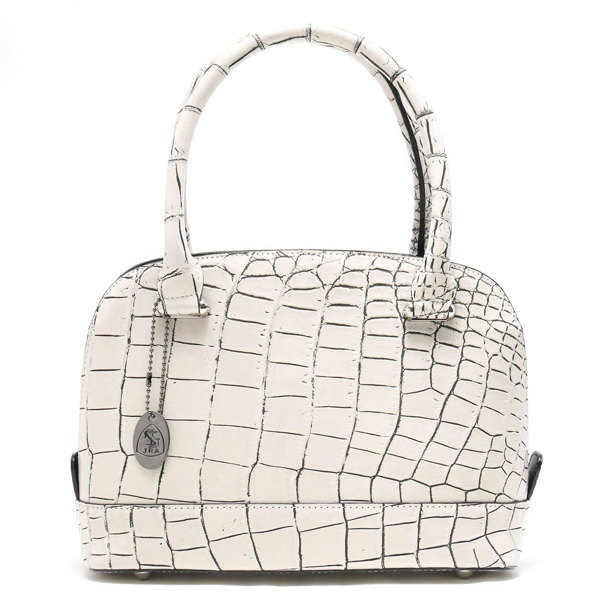 本革 ハンドバッグ バッグ レディース クロコ バニラホワイト CRB029 VAN Leather