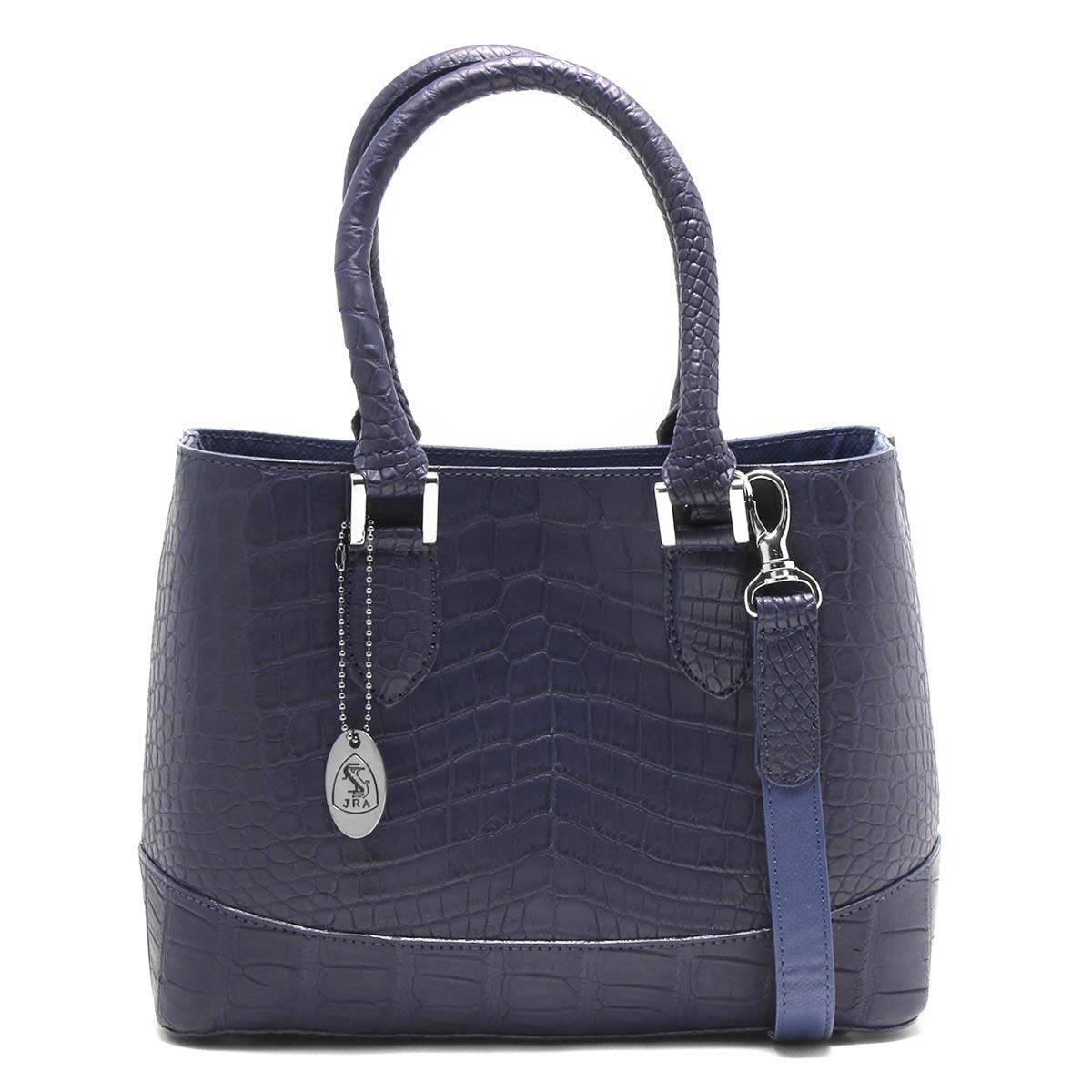 本革 ハンドバッグ/ショルダーバッグ バッグ レディース クロコ ロイヤルブルー CRB312 RBLU Leather