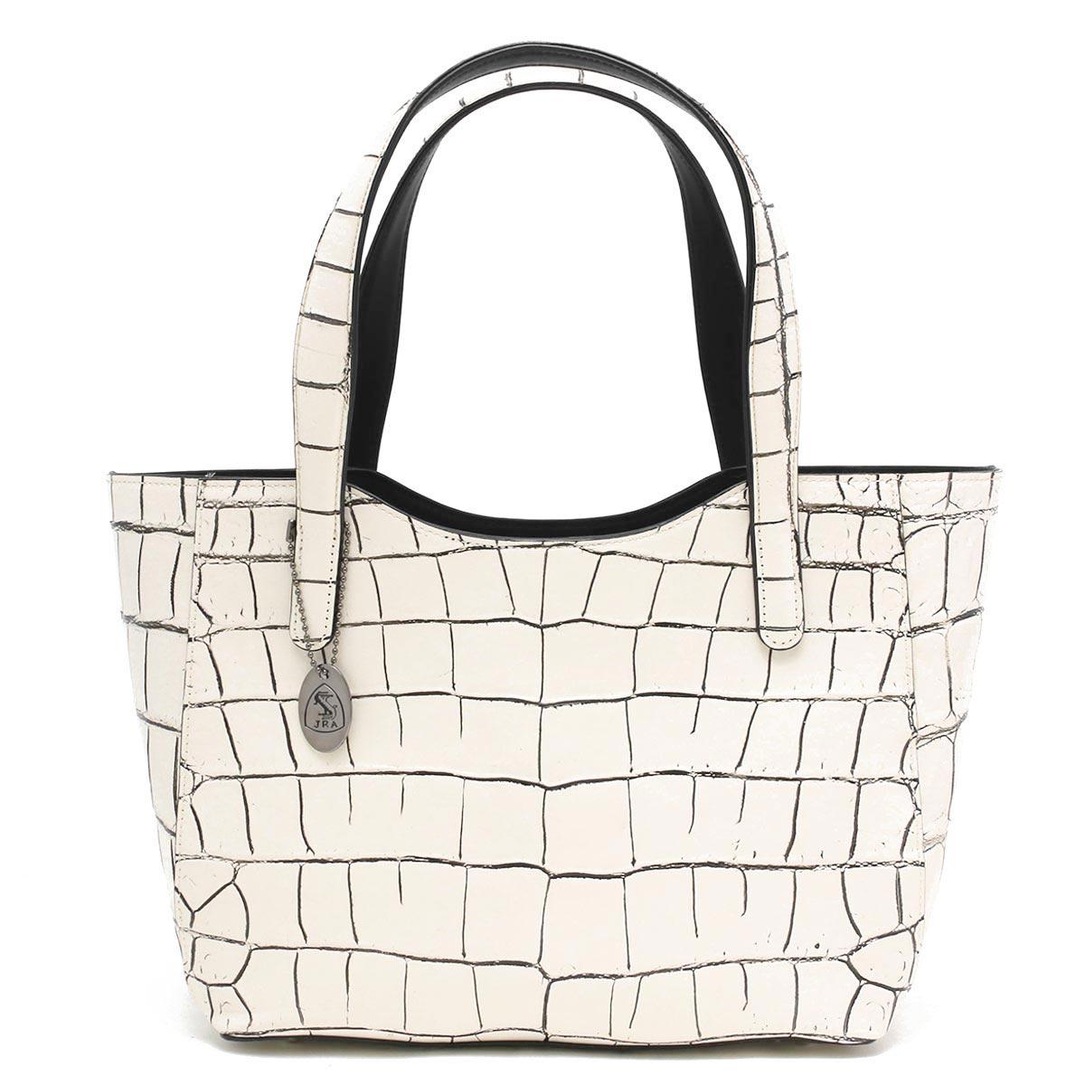 本革 トートバッグ バッグ レディース クロコ バニラホワイト CRB504 VAN Leather