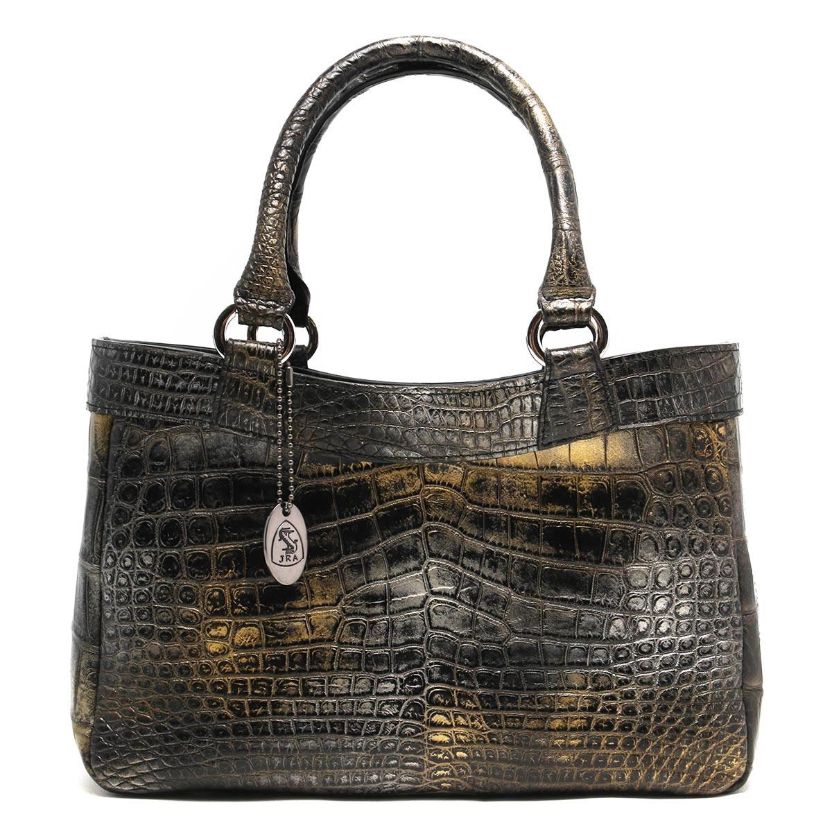 本革 ハンドバッグ バッグ レディース クロコ アンティークゴールド CRB507 ANTGD Leather