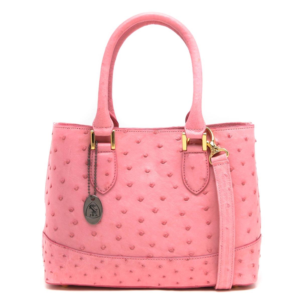 本革 ハンドバッグ/トートバッグ/ショルダーバッグ バッグ レディース オーストリッチ ピンク CROB312 PNK Leather