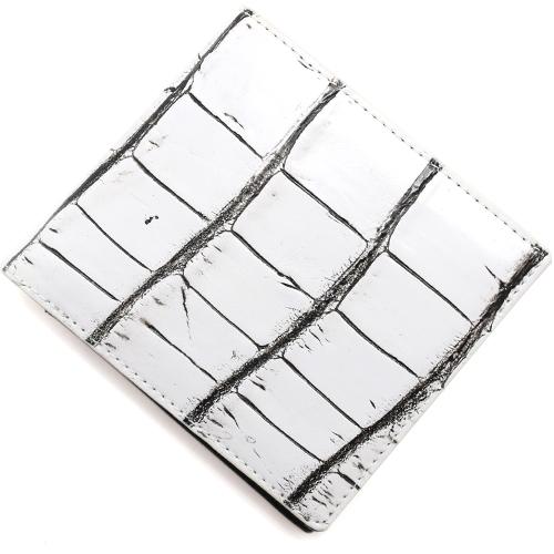 本革 二つ折財布 財布 メンズ レディース クロコ 【CROCODILE】 ヴァニラホワイト OKUC0739 VWH Leather