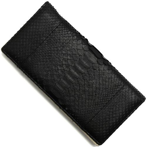 本革 長財布 財布 メンズ レディース ダイヤモンドパイソン 【DIAMOND PYTHON】 ブラック SNJN0118 BBK Leather