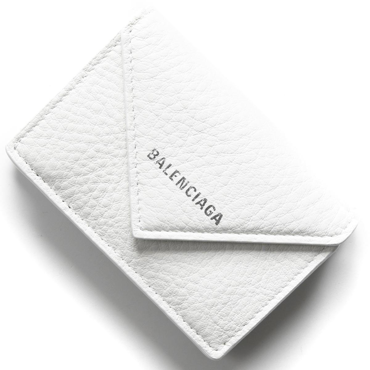 バレンシアガ 三つ折り財布 財布 レディース ペーパー ミニ ブランオプティックホワイト 391446 DLQ0N 9002 2020年春夏新作 BALENCIAGA