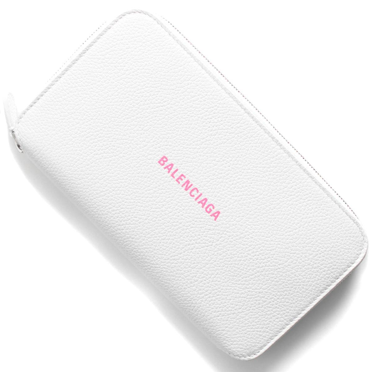 バレンシアガ 長財布 財布 メンズ レディース キャッシュ ブランホワイト&フルアピンク 594290 1IZF3 9066 BALENCIAGA