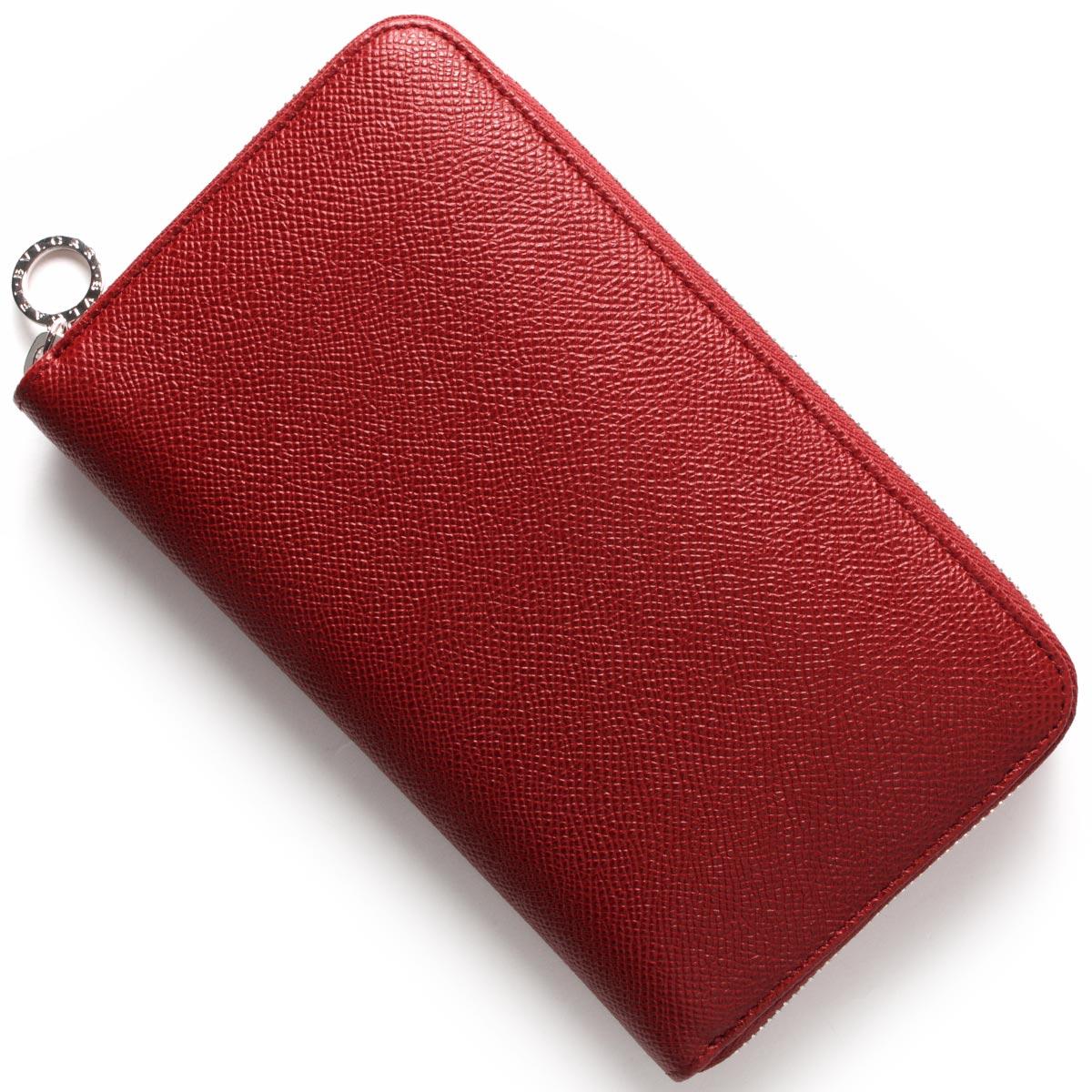ブルガリ 長財布 財布 レディース ブルガリブルガリ レザー ラウンドファスナー ルビーレッド 37340 BVLGARI