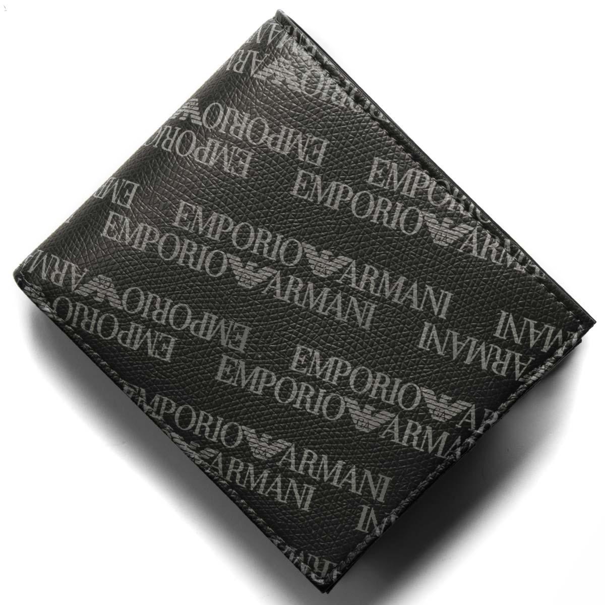 二つ折り財布 ラヴァーニャ×ブラック Y4R165 YLO7E 86526 小銭入れ付 ロゴ型押し EMPORIO ARMANI 【送料無料】 エンポリオアルマーニ