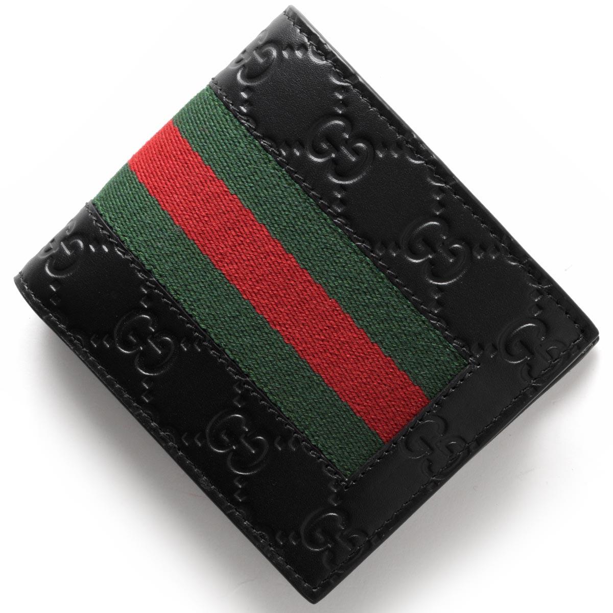 グッチ 二つ折り財布 財布 メンズ ニュー ウェブ GGシグネチャー ブラック 408826 CWCLN 1060 GUCCI