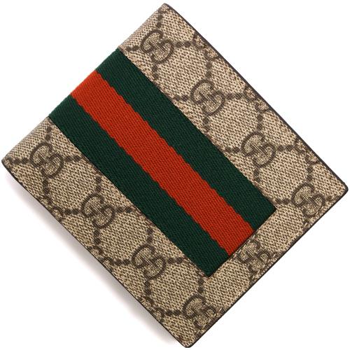 グッチ 二つ折り財布 財布 メンズ GGスプリーム ベージュ&ダークブラウン 408826 KHN4N 9791 GUCCI
