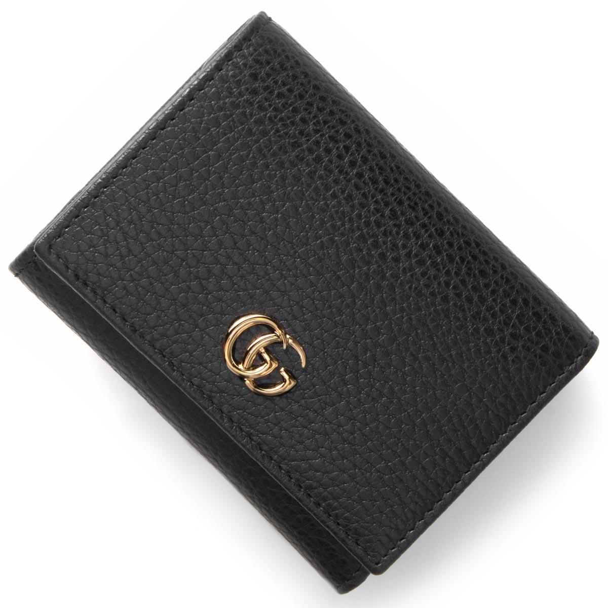 グッチ 三つ折り財布 財布 レディース シルヴィ プチ マーモント PETITE MARMONT ブラック 474746 CAO0G 1000 GUCCI