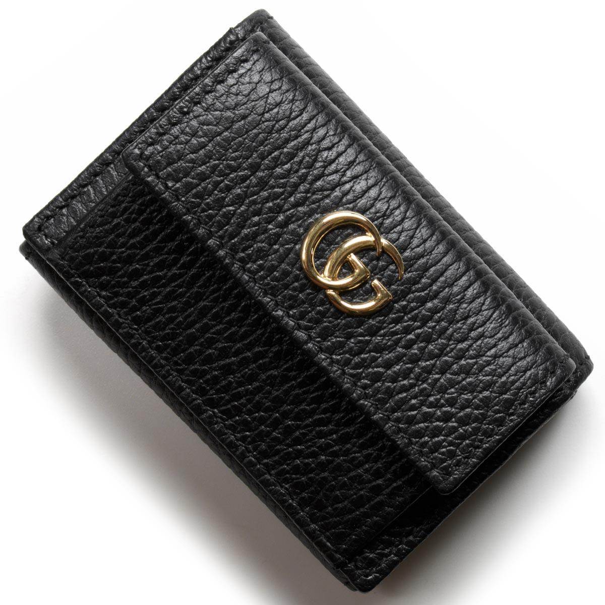 グッチ 三つ折り財布/ミニ財布 財布 レディース プチGGマーモント ブラック 523277 CAO0G 1000 GUCCI