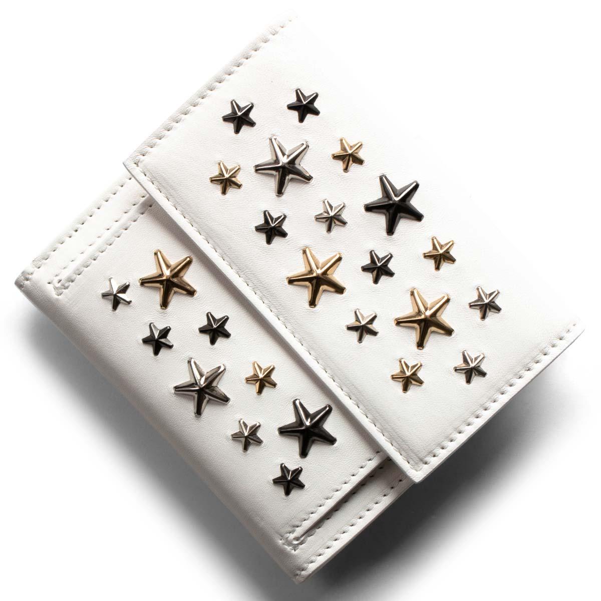 ジミーチュウ 二つ折り財布 財布 レディース フリーダ マルチ メタル スター スタッズ ホワイト&メタリックミックス FRIDA LTR 080298 WHITE METALLIC MIX JIMMY CHOO