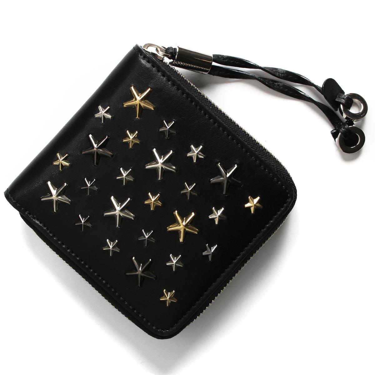 ジミーチュウ 二つ折り財布 財布 レディース テッサ マルチ メタル スター スタッズ ブラック&メタリックミックス TESSA LTR 191 BLACK METALLIC MIX JIMMY CHOO