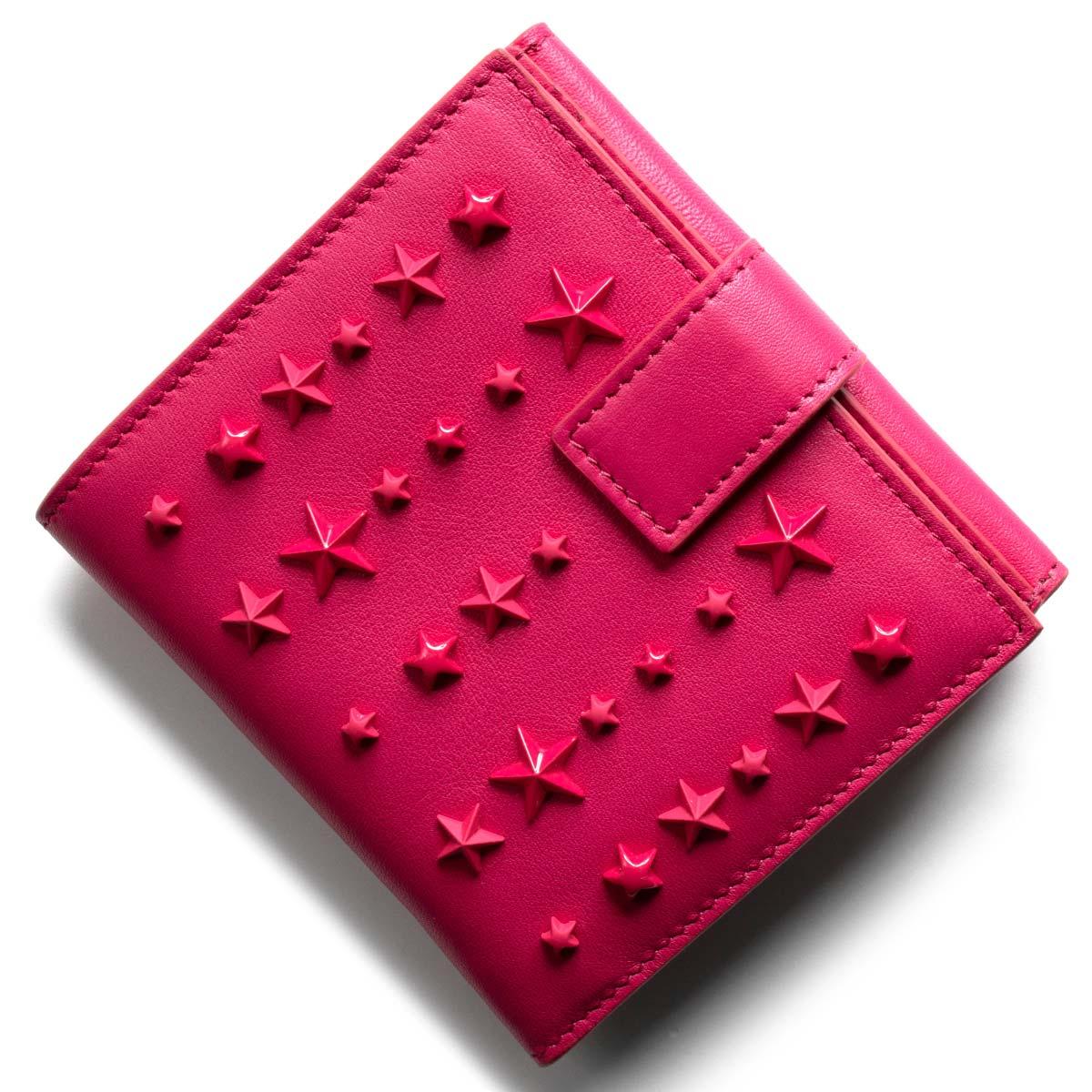 ジミーチュウ 二つ折り財布 財布 レディース フリーダ ミックスド スター スタッズ フクシャピンク FRIDA LXA 110038 FUCHSIA JIMMY CHOO