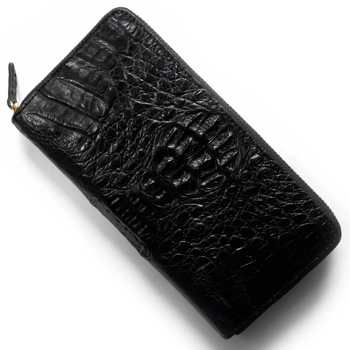 本革 長財布 財布 メンズ レディース カイマンワニ CAIMAN GENUINE ブラック CJN0477A BKMT Leather