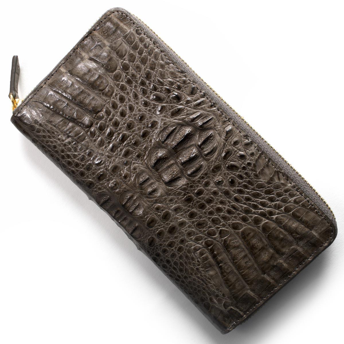 本革 長財布 財布 メンズ レディース カイマンワニ CAIMAN GENUINE グレー CJN0477A DGYMT Leather