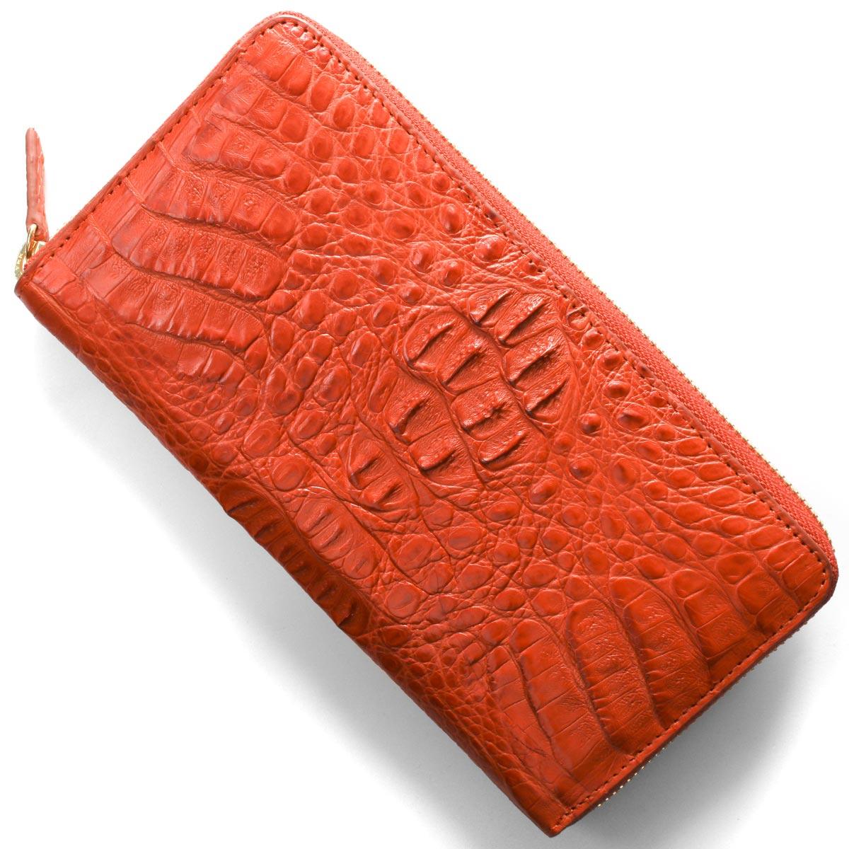 本革 長財布 財布 メンズ レディース カイマンワニ オレンジマット CJN0477A ORMT Leather