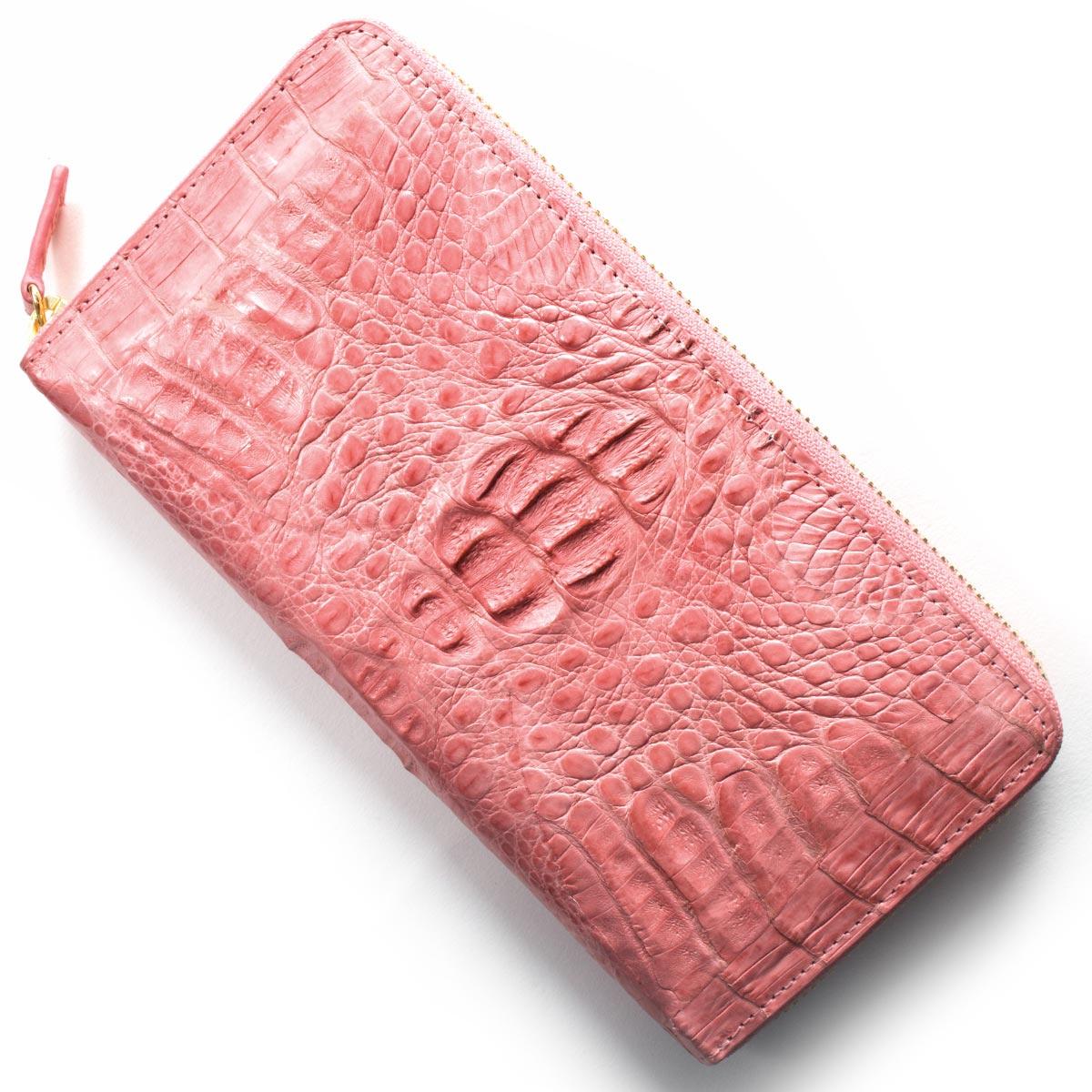 本革 長財布 財布 レディース カイマンワニ CAIMAN GENUINE ピンク CJN0477A PKMT Leather