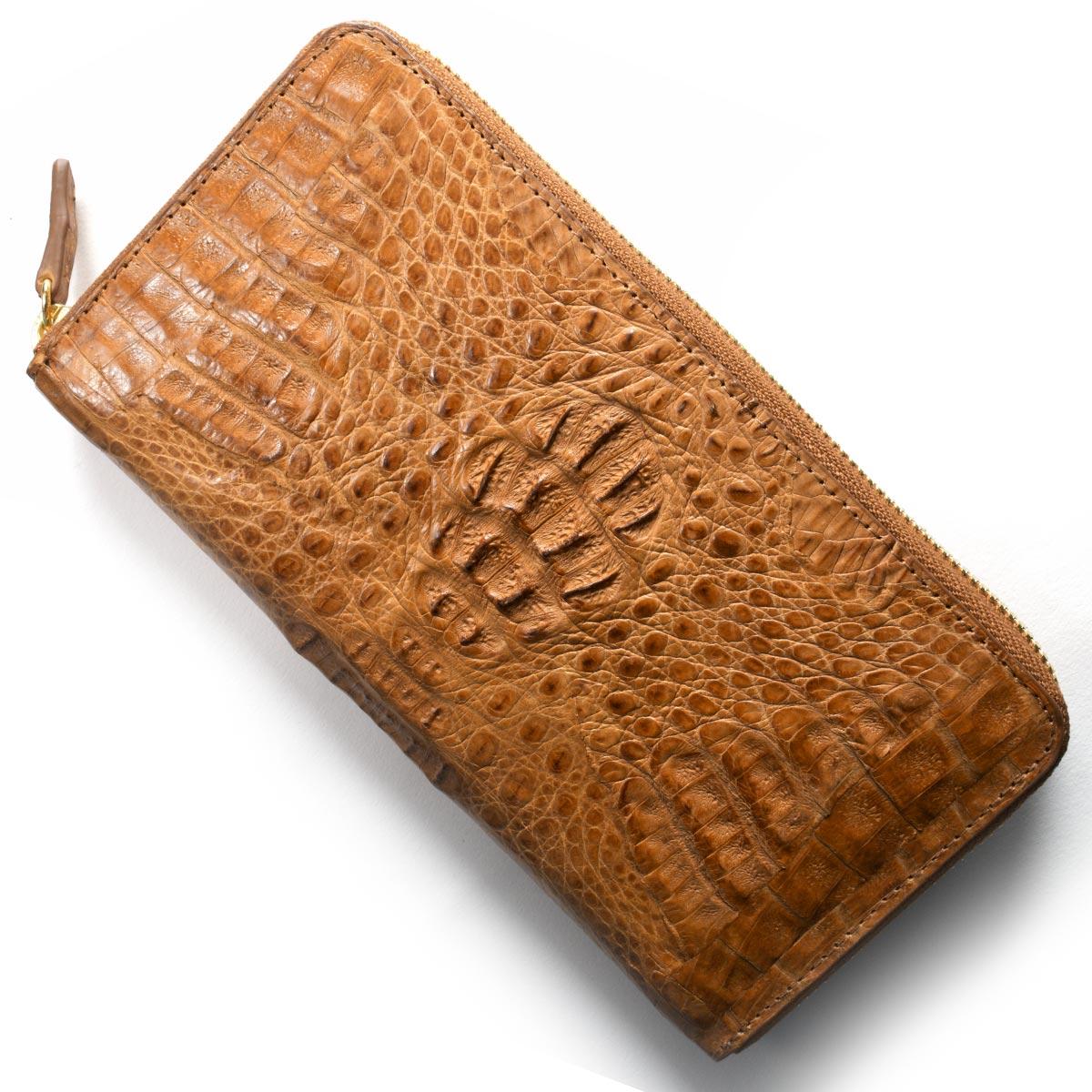 本革 長財布 財布 メンズ レディース カイマンワニ CAIMAN GENUINE キャメルブラウン CJN0477A PTMT Leather