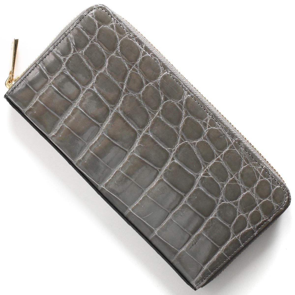 本革 長財布 財布 メンズ レディース クロコ グレー CRS002HLG GRY Leather