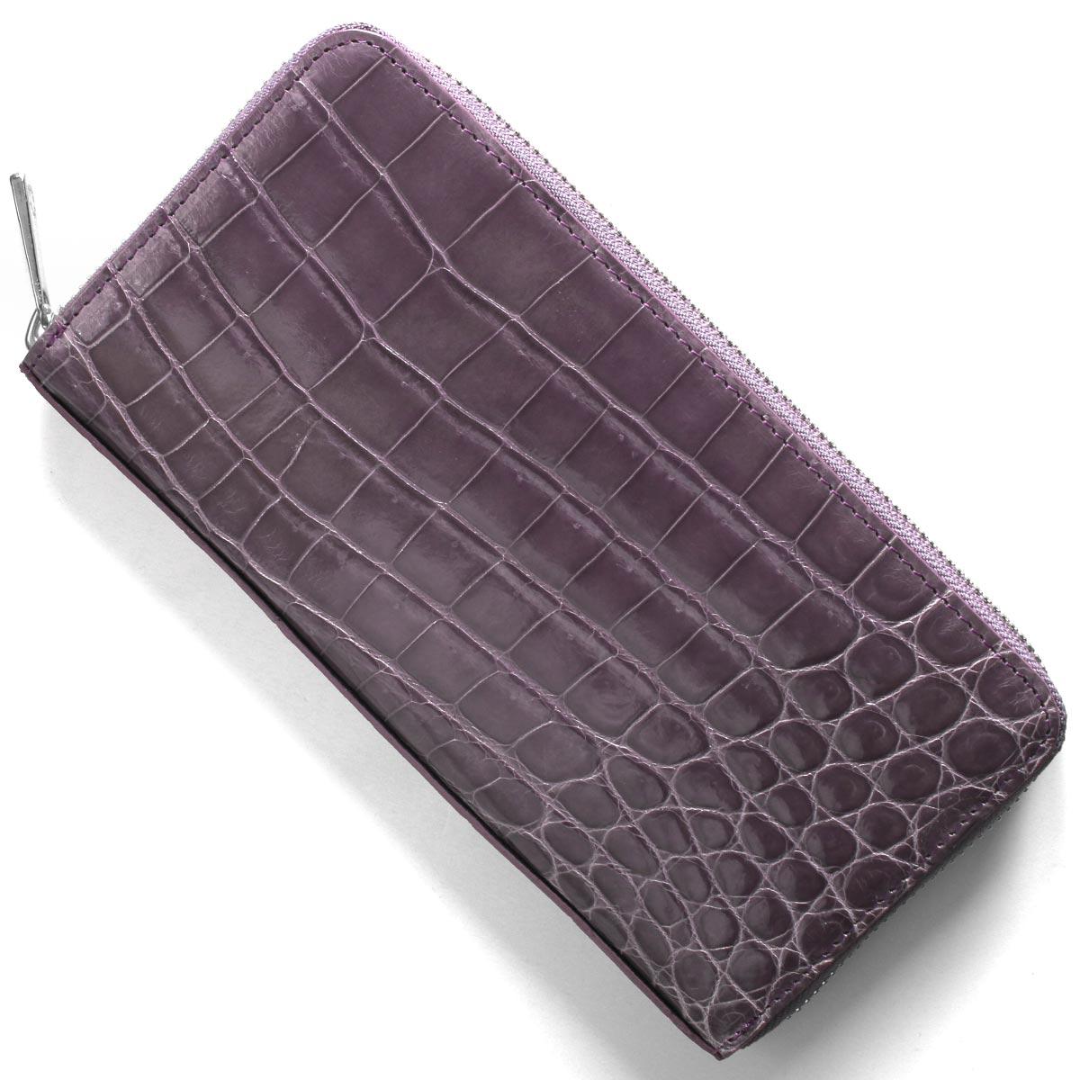 本革 長財布 財布 メンズ レディース クロコ ラベンダーパープル CRS002HLG LAV Leather