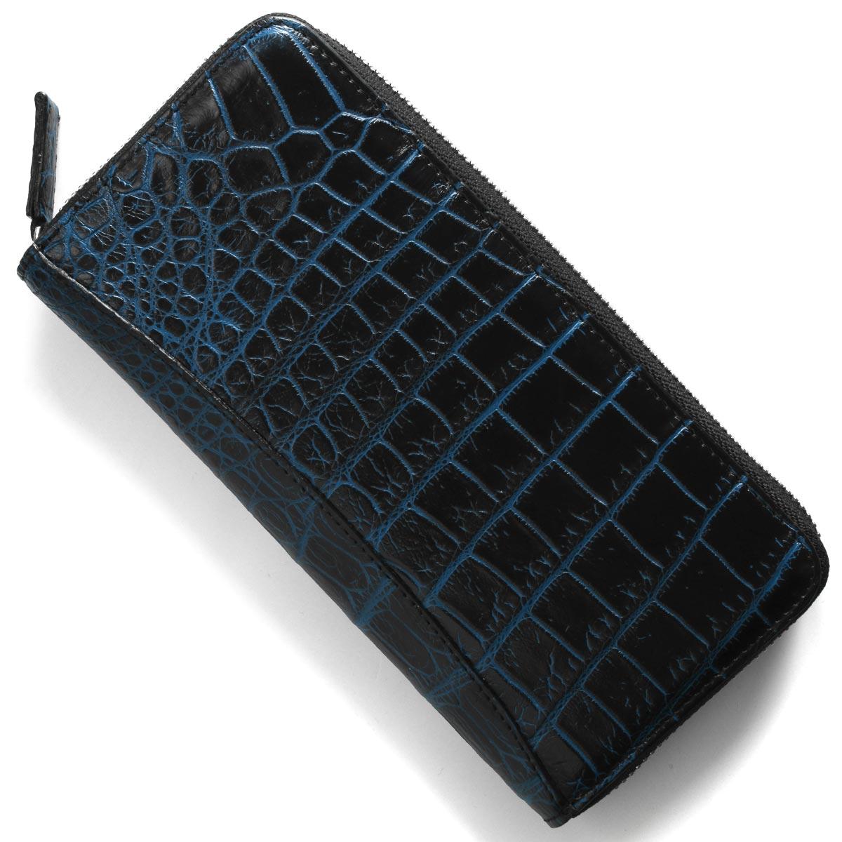 本革 長財布 財布 メンズ レディース クロコ ブラック&ネイビーブルー CRS002P BKNV Leather