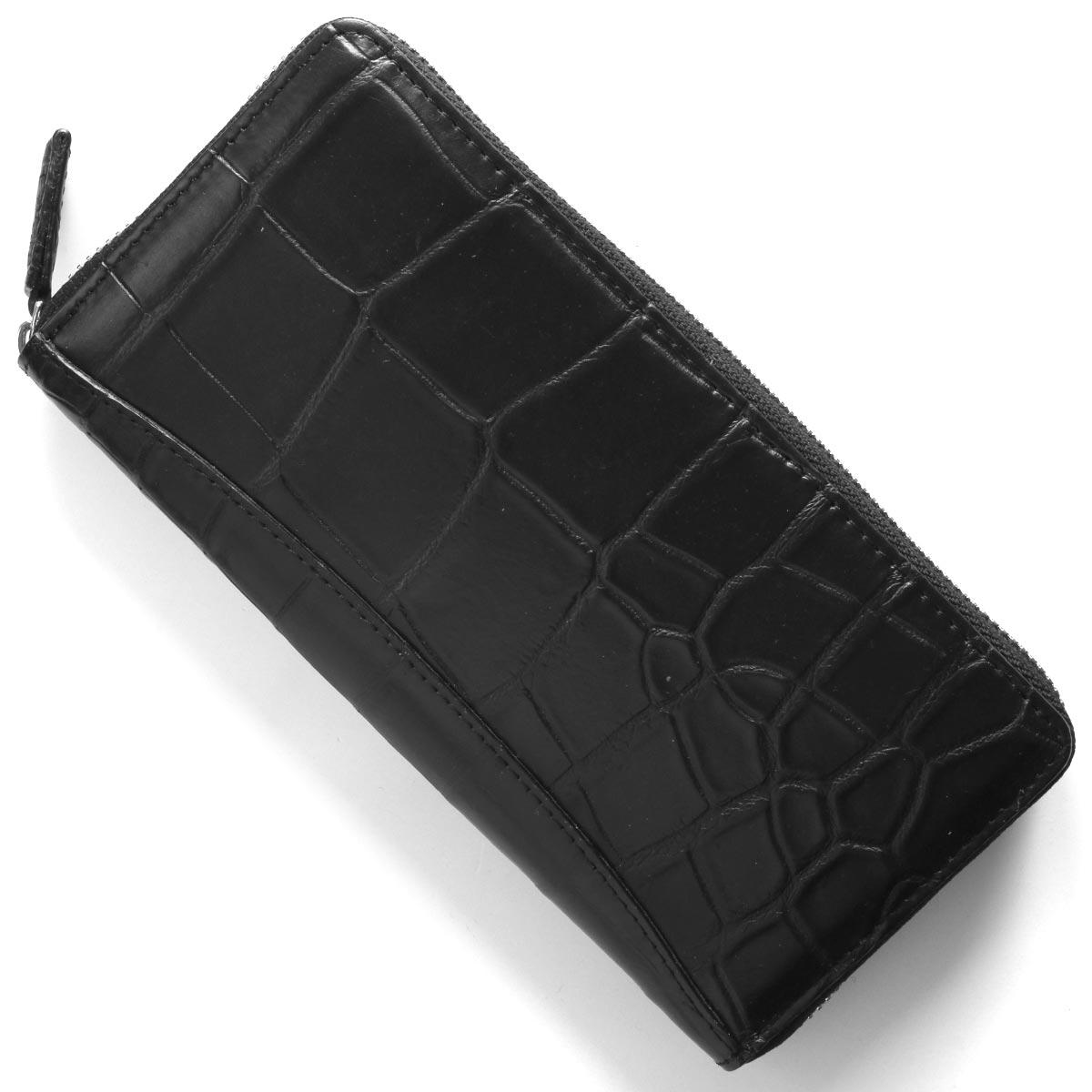 本革 長財布 財布 メンズ レディース クロコ ブラック CRS002P BLK Leather