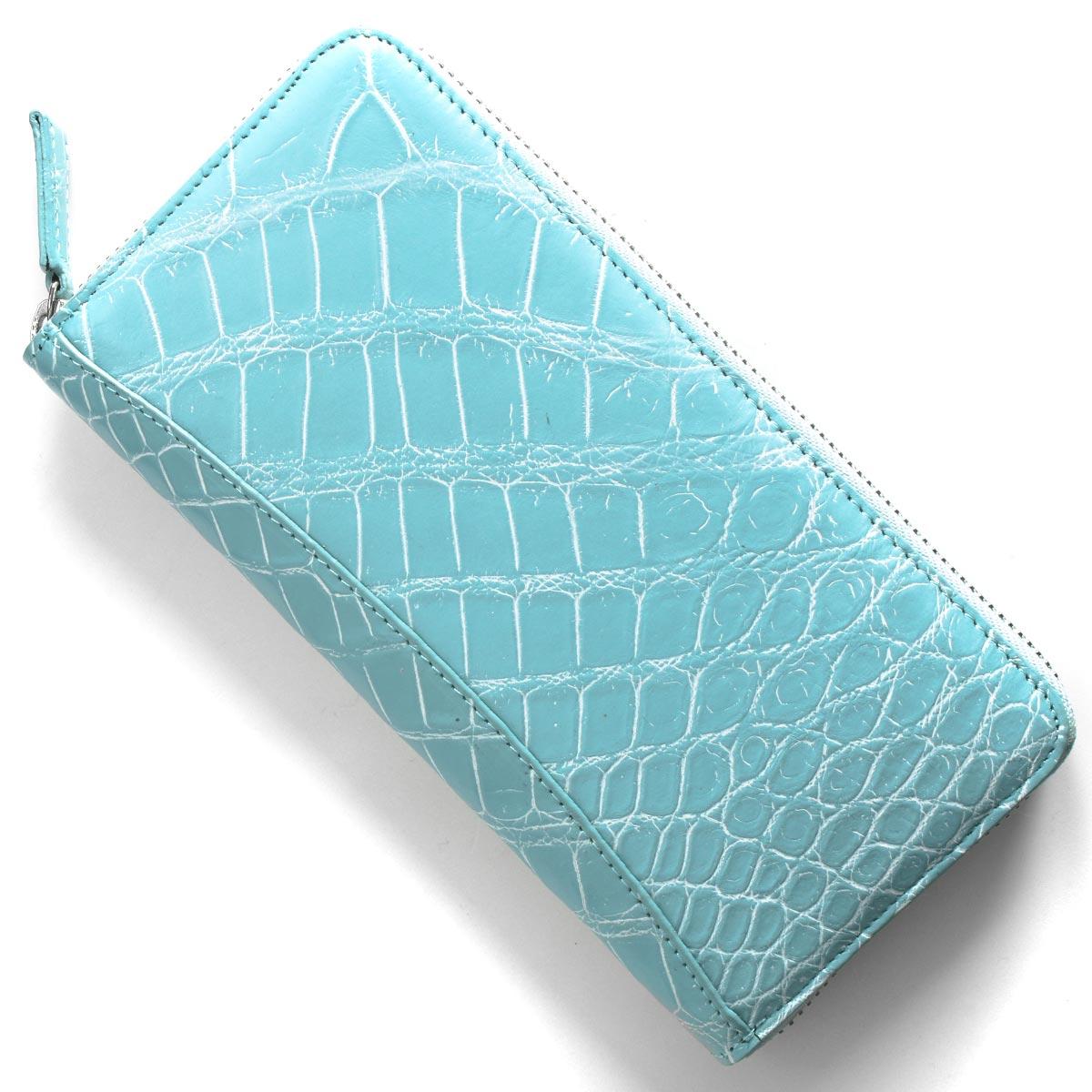 本革 長財布 財布 メンズ レディース クロコ エメラルドブルー&ホワイト CRS002P EMWH Leather