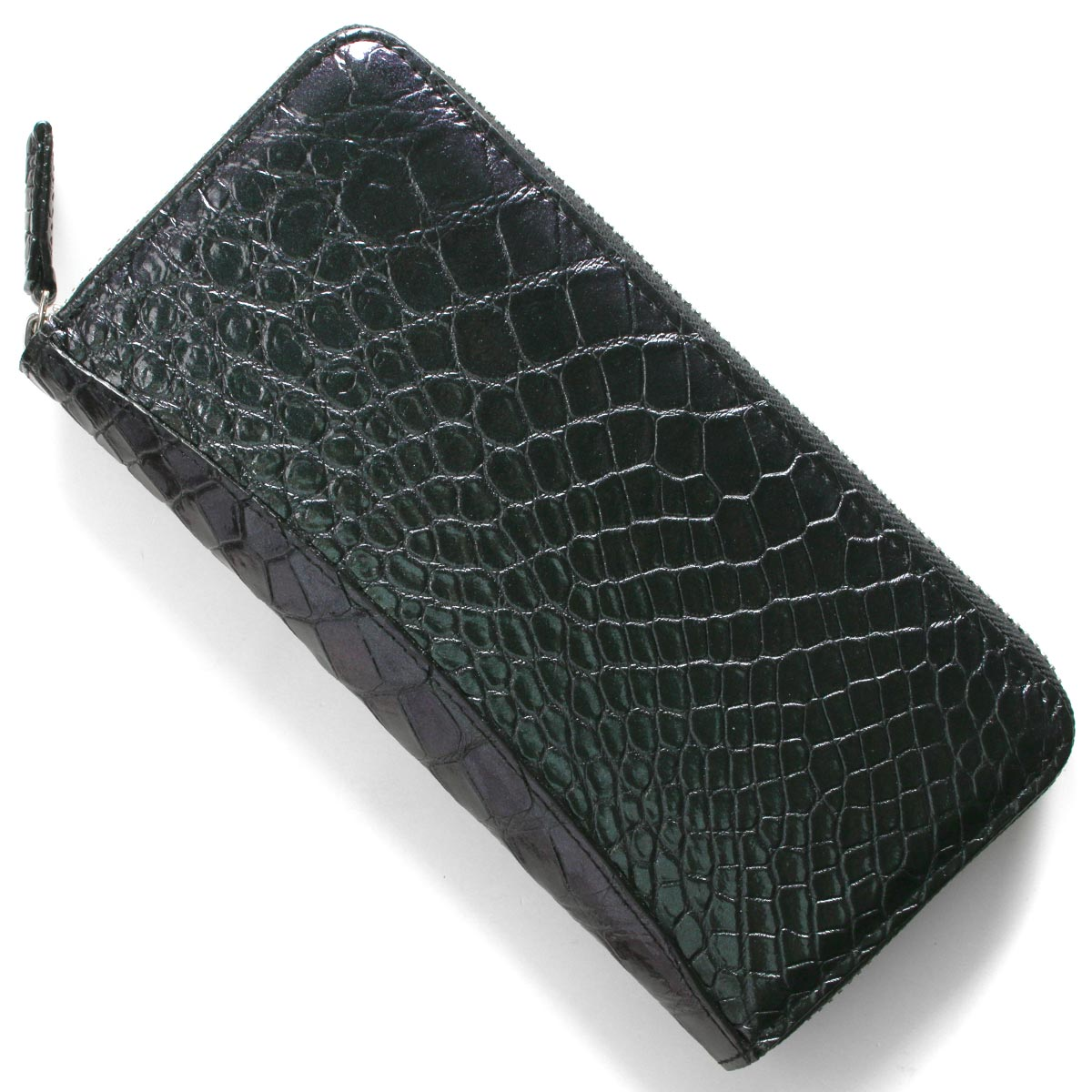 本革 長財布 財布 メンズ レディース クロコ グリーン&パープル CRS002P GRPP Leather