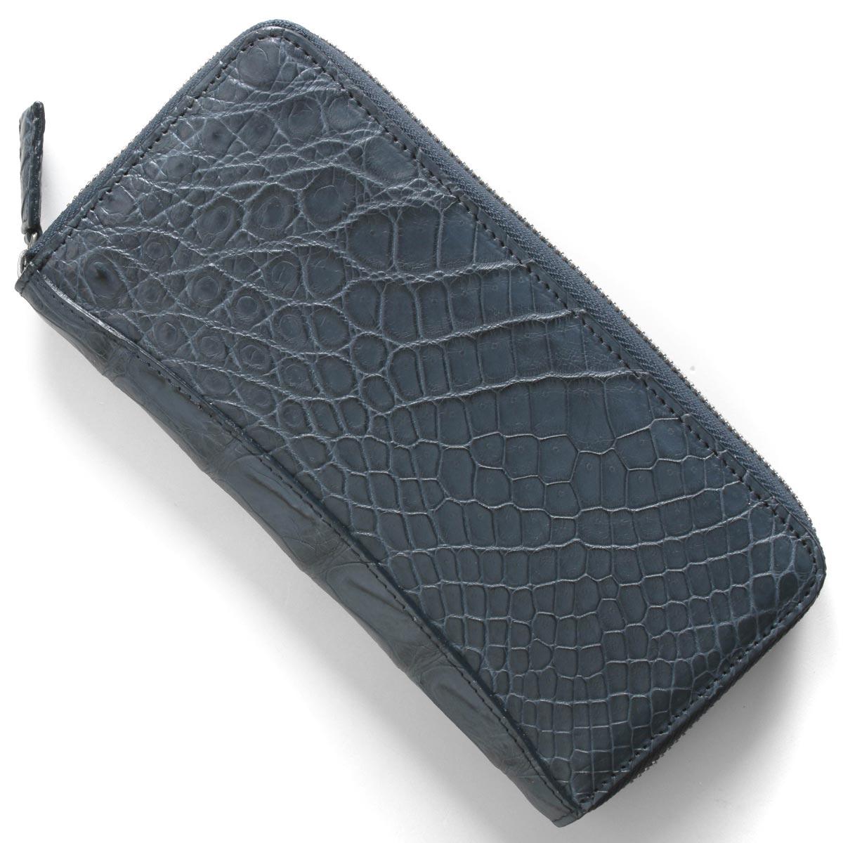 本革 長財布 財布 メンズ レディース クロコ ネイビーブルー CRS002P NVY Leather