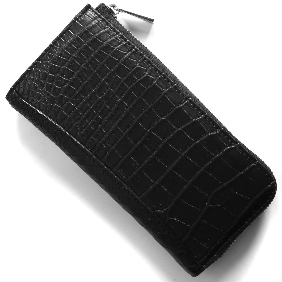 本革 長財布 財布 メンズ レディース クロコ ブラック CRS004M BLK Leather
