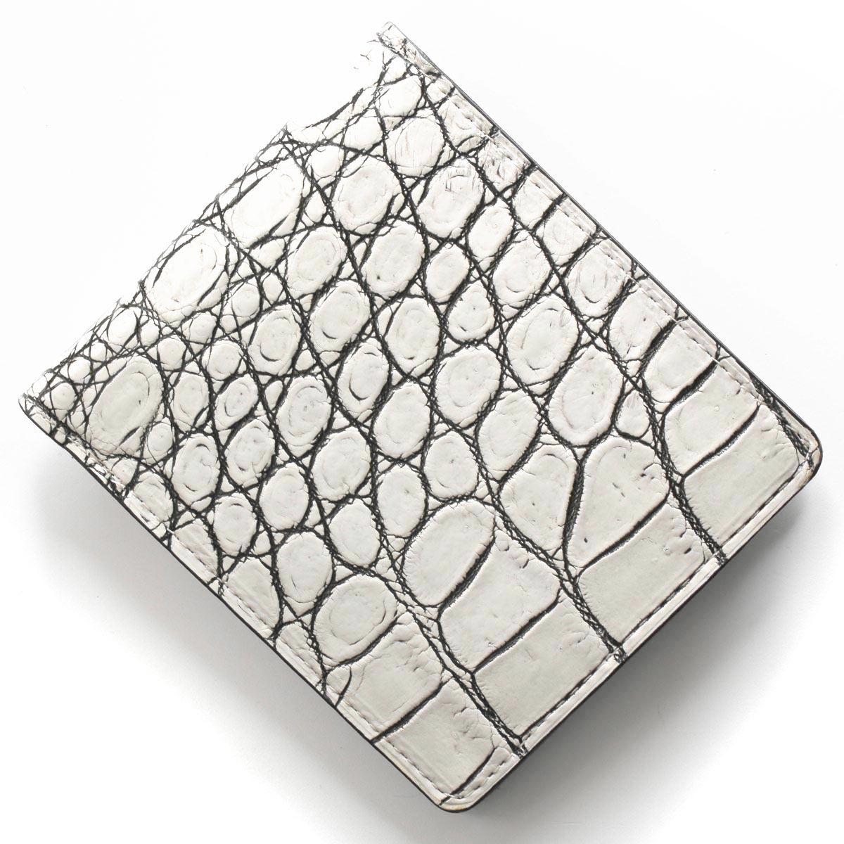 本革 二つ折り財布 財布 メンズ クロコ バニラホワイト CRSM012JP VAN Leather