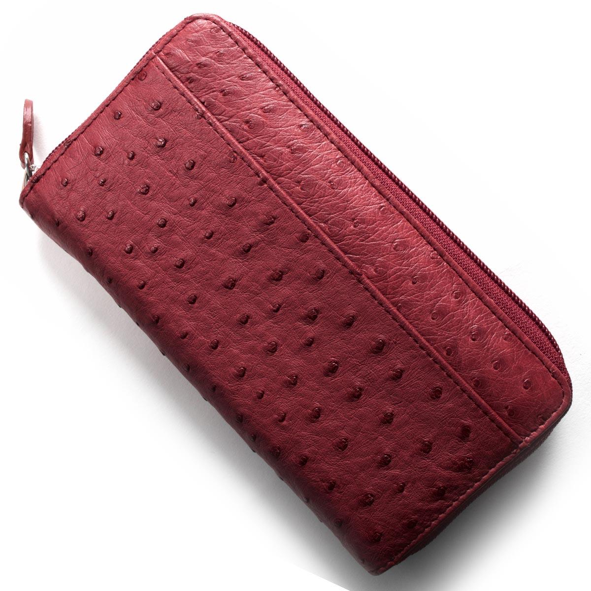 本革 長財布 財布 レディース オーストリッチ レッド OKN1824H CRD Leather