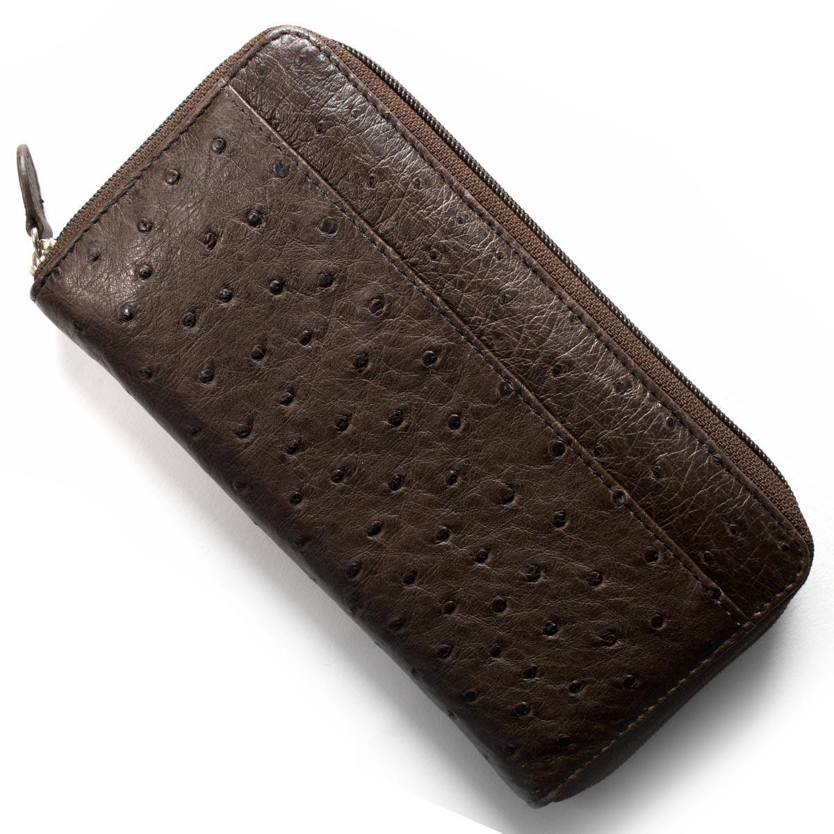 本革 長財布 財布 メンズ レディース オーストリッチ OSTRICH ニコチンブラウン OKN1824H NE Leather
