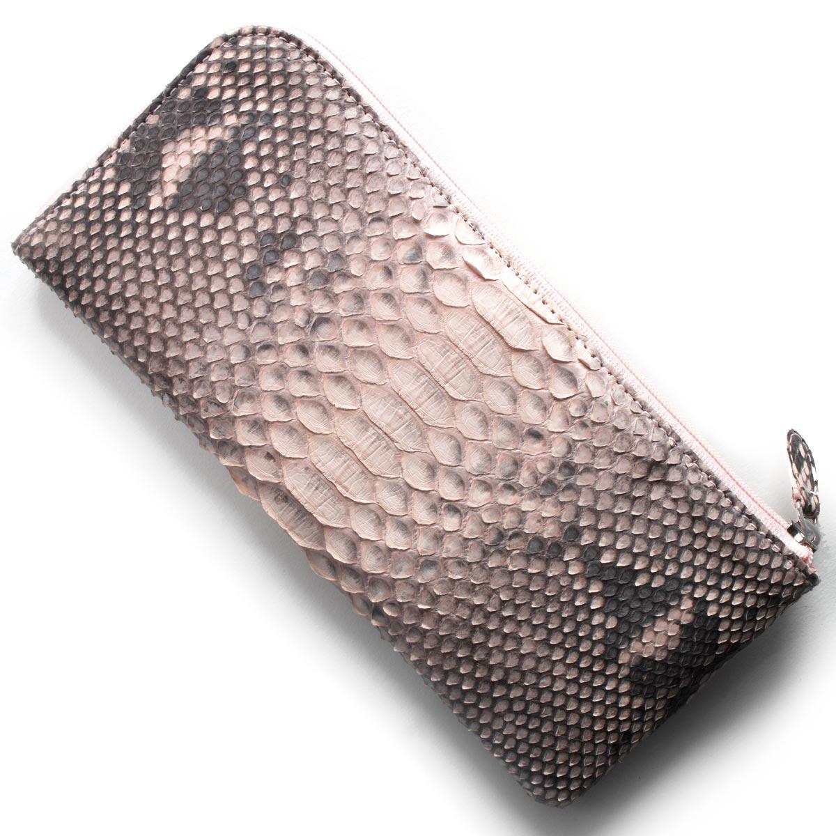 本革 長財布 財布 レディース パイソン ピンク OKU7165 PK Leather