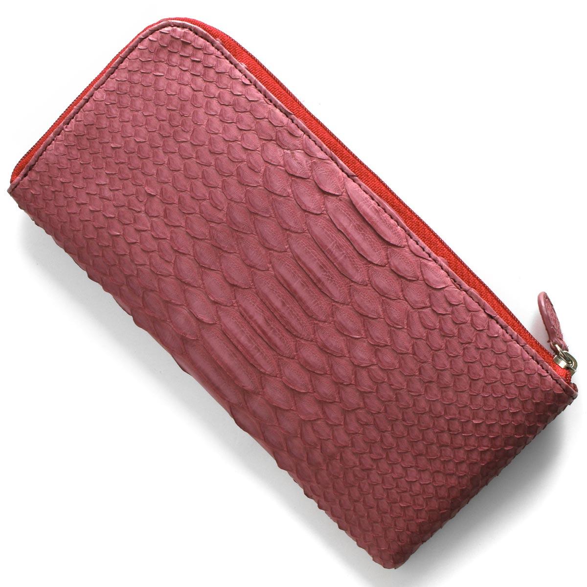 本革 長財布 財布 レディース パイソン ワインレッド OKU7165 WE Leather
