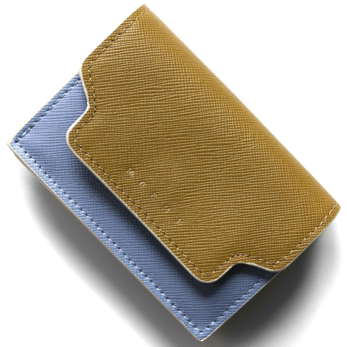 マルニ 三つ折り財布/ミニ財布 財布 レディース トリフォールド タイムカーキ&オパールライトブルー&オリーブグリーン&デューンベージュ PFMOW02U09 LV520 Z274I 2020年春夏新作 MARNI