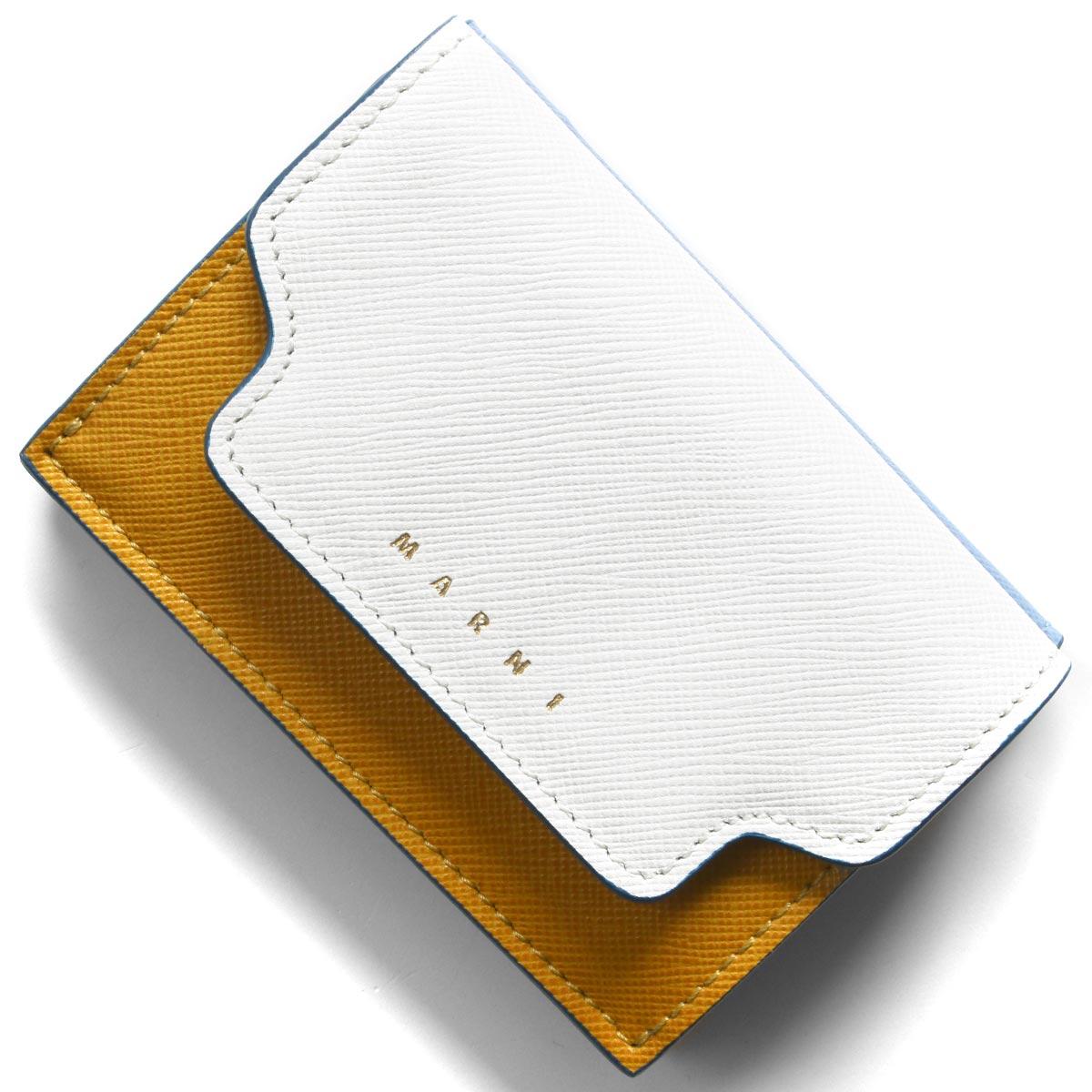 マルニ 三つ折り財布/ミニ財布 財布 レディース トリフォールド ナチュラルホワイト&パンプキンオレンジ&オパールライトブルー&デューンベージュ PFMOW02U09 LV520 Z271U 2020年春夏新作 MARNI