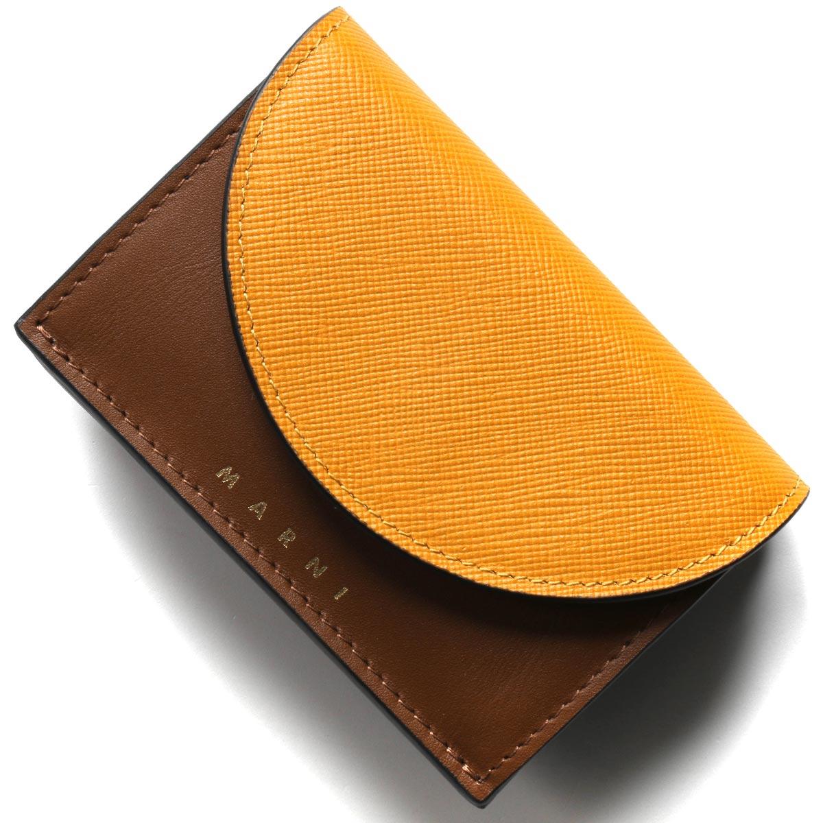 マルニ 三つ折り財布/ミニ財布 財布 レディース パンプキンイエロー&マロンブラウン&ブラック PFMO0001Q2 LV589 Z2G05 MARNI