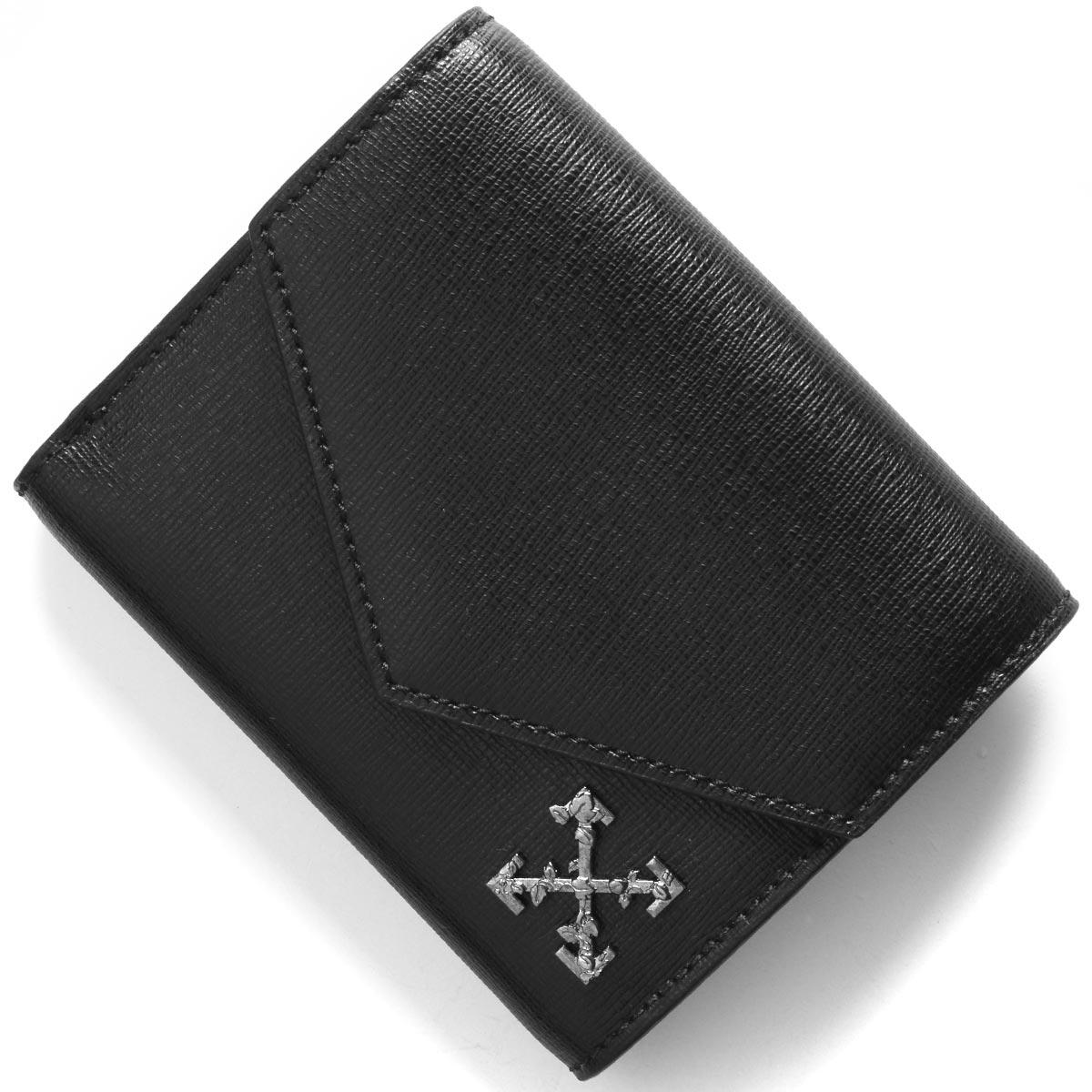 オフホワイト 三つ折り財布 財布 メンズ スカルプチャー スモール クロス ブラック OWNC010S194230691001 OFF-WHITE