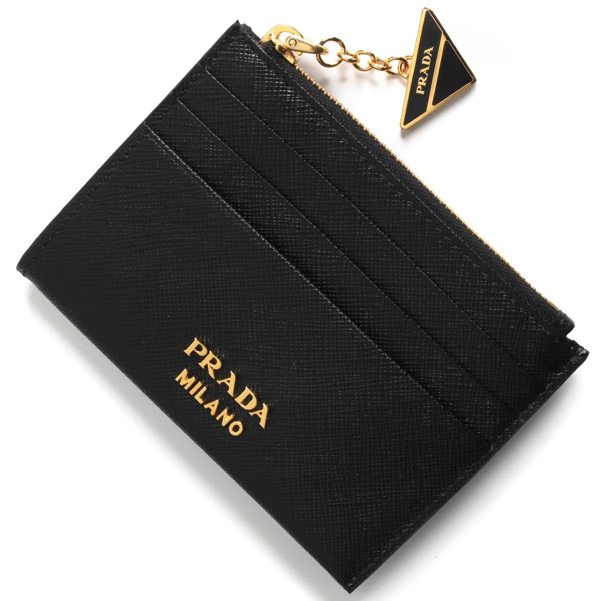 プラダ コインケース【小銭入れ】/クレジットカードケース 財布 レディース サフィアーノ トライアングル ブラック 1MC026 2CGD F0002 PRADA