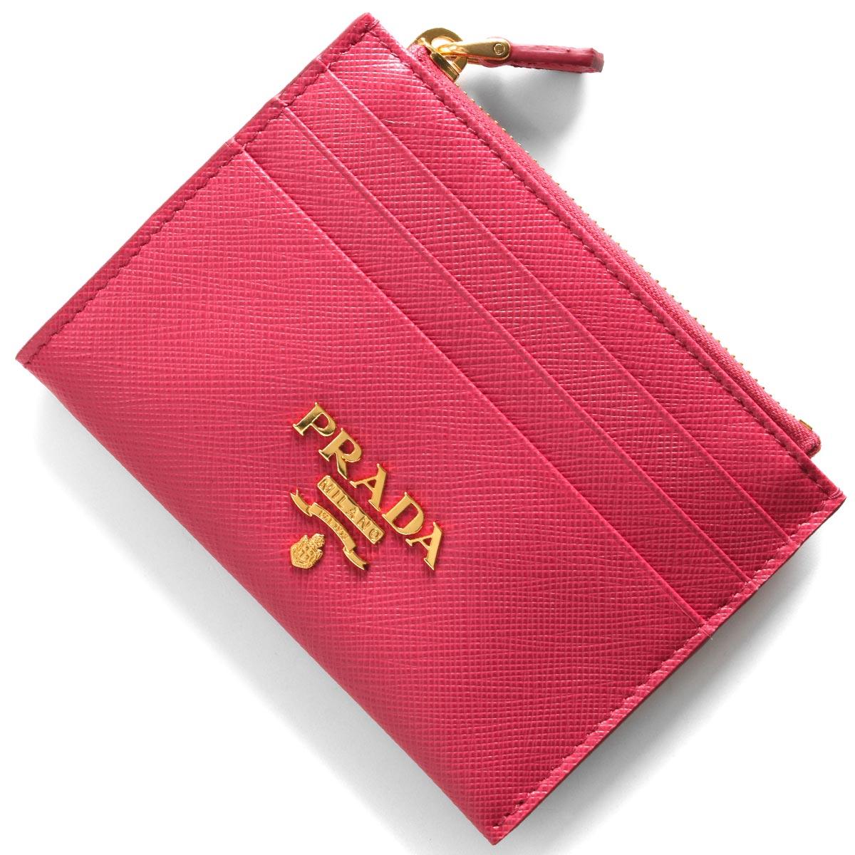 プラダ コインケース【小銭入れ】/クレジットカードケース 財布 レディース サフィアーノ メタル ペオニアピンク 1MC026 QWA F0505 PRADA